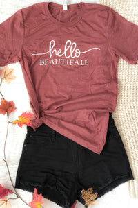 Hello Beautifall Mauve Rose T-Shirt-T-Shirt-Evening Primrose Boutique