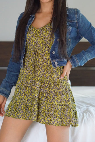 Limegreen Flower Print Mini Dress-Dress-Evening Primrose Boutique