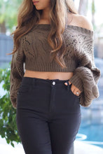 Load image into Gallery viewer, Melody Olive Green Crop Knit Sweater with Oversized Sleeves - Evening Primrose Boutique