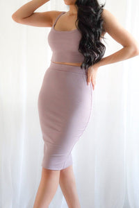 Mood Lilac Crop Top and Midi Skirt Two-Piece Set