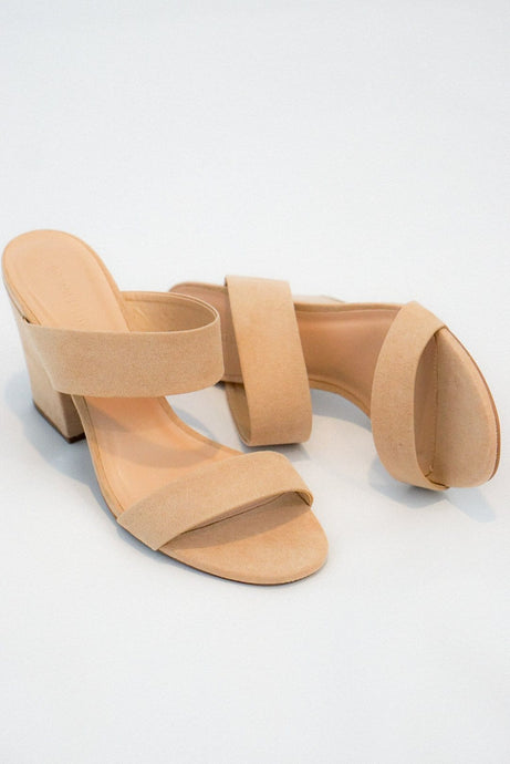 Nude Suede Block Heel Sandals - Evening Primrose Boutique