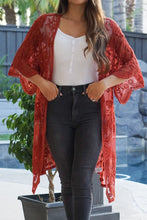 Load image into Gallery viewer, Vida Rusty Red Embroidered Lace Duster/Cardigan S-XL - Evening Primrose Boutique