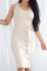 She's a Classic Cream Midi Dress with Waist Tie