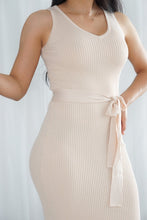 Load image into Gallery viewer, She's a Classic Cream Midi Dress with Waist Tie
