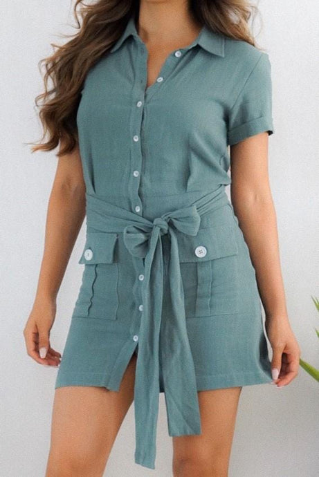 Lucky Green Button Tie Front Mini Dress-Dress-Evening Primrose Boutique