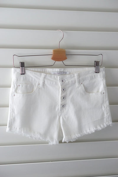 Pink celebrity white button shorts hem fray sizes 1-11 FOXXI Fashion Boutique