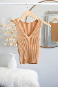 Marie Yellow Ribbed Top