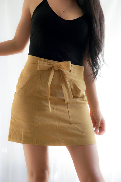 Classic mustard yellow cutie yellow skirt with black tang top FOXXI Fashion Boutique