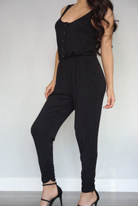 Relaxed Black Button Jumpsuit-Jumpsuit-Evening Primrose Boutique