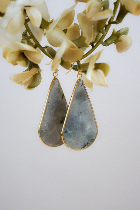 Gray Semi-Precious Stone Earrings-Evening Primrose Boutique