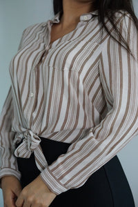 Sahara Long Sleeve Front Tie Button Blouse-Blouse-Evening Primrose Boutique