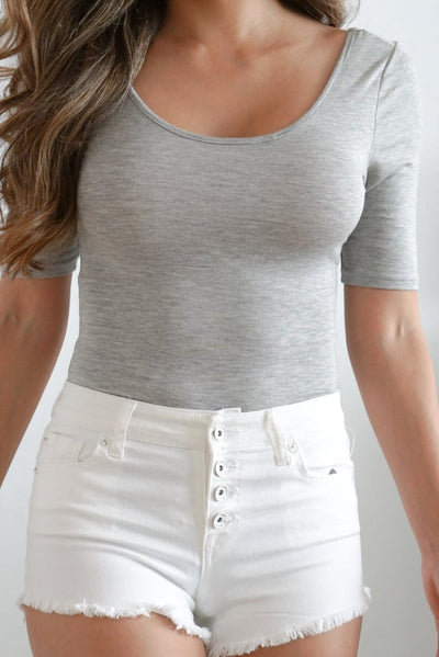 Everyday basic bodysuit in gray cheri FOXXI Fashion Boutique