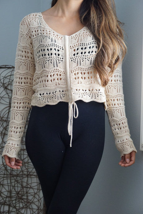 Avery Crochet Long Sleeve Top-Crop Top-Evening Primrose Boutique