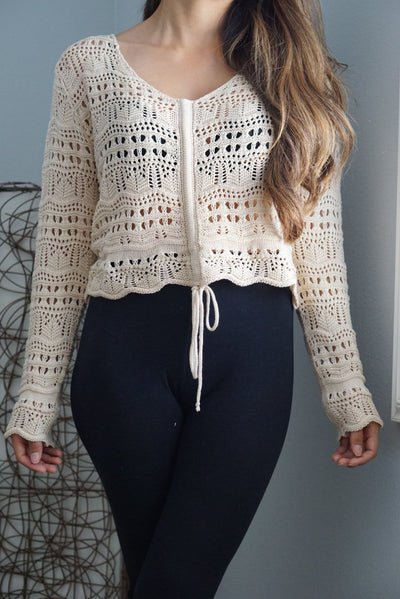 Embroidered long sleeve crop tie string sweater from FOXXI Fashion Boutique