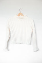 Load image into Gallery viewer, In My Feelings White Cropped Mock Neck Sweater Top