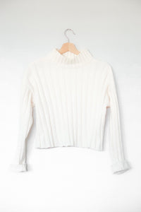 In My Feelings White Cropped Mock Neck Sweater Top