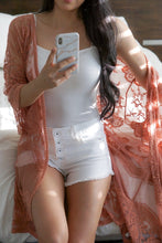 Load image into Gallery viewer, Sheer Pink Lace Kimono