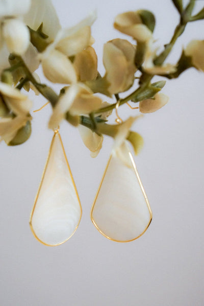White/Ivory Semi-Precious Stone Earrings-Evening Primrose Boutique