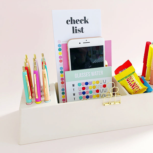 Studio Stationery - Desk Organizer bamboe off white