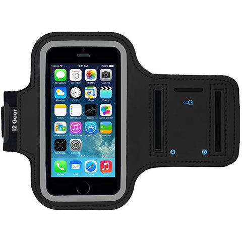 i2 Gear i5-AB Reflective Neoprene Running Armband with Key Holder for iPhone Se (2016), 5, 5S, 5C - Black