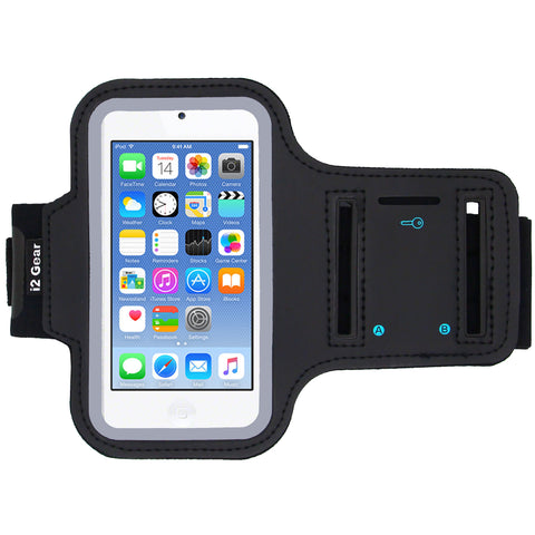 i2 Gear Running Exercise Armband for iPod Touch 6th and 5th Generation Devices with Reflective Border and Key Holder (6 G 5 G Black)
