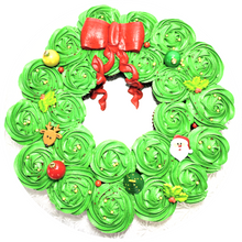 Load image into Gallery viewer, Christmas wreath cupcake cake