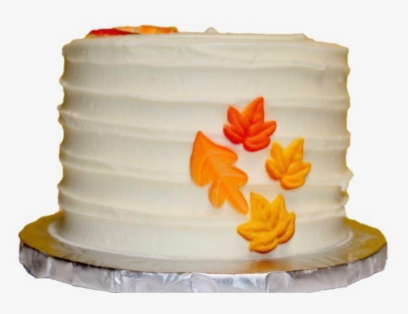 Fall leaves cake with white frosting