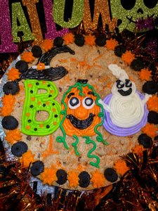 BOO Halloween chocolate chip cookie cake