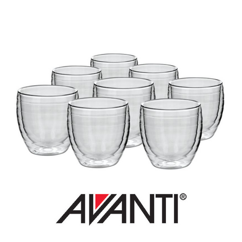 Avanti Ripple Twin Wall Glass Set 250ml, Set of 8