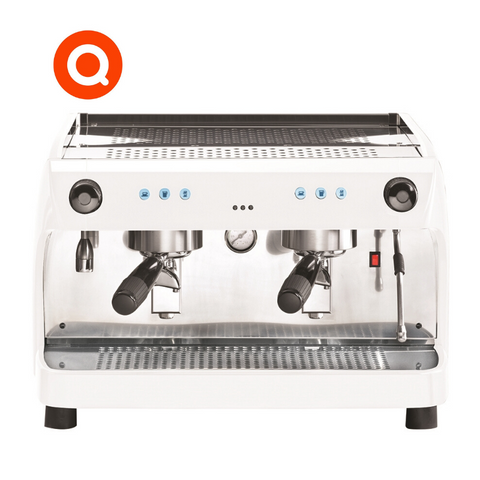 Quality Espresso Ruby Pro 2 group White professional espresso machine produces Barista quality coffee