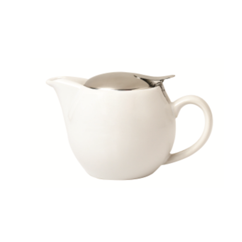 Teapot 400ml, white ceramic, two cup