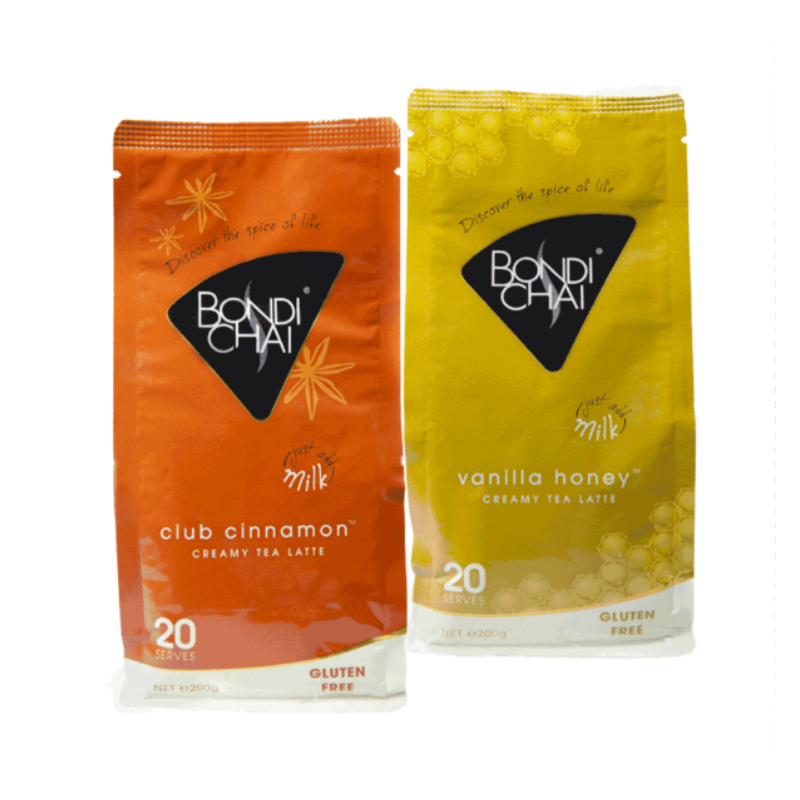 Bondi Chai latte 200g pack of Club Cinnamon and Vanilla Honey