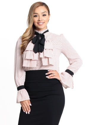 Amy Ruffle Bow Tie Top - Blush