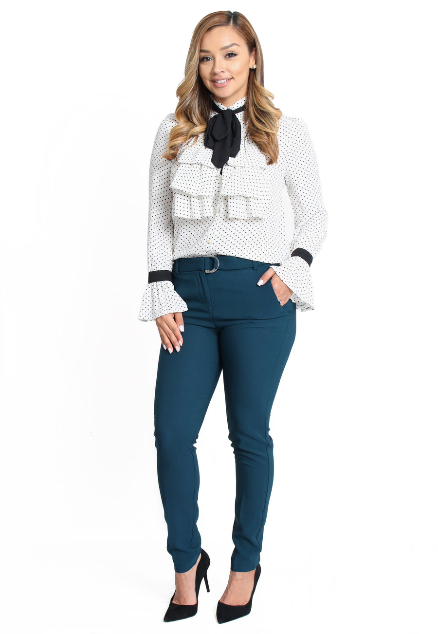 Amy Ruffle Bow Tie Top - White