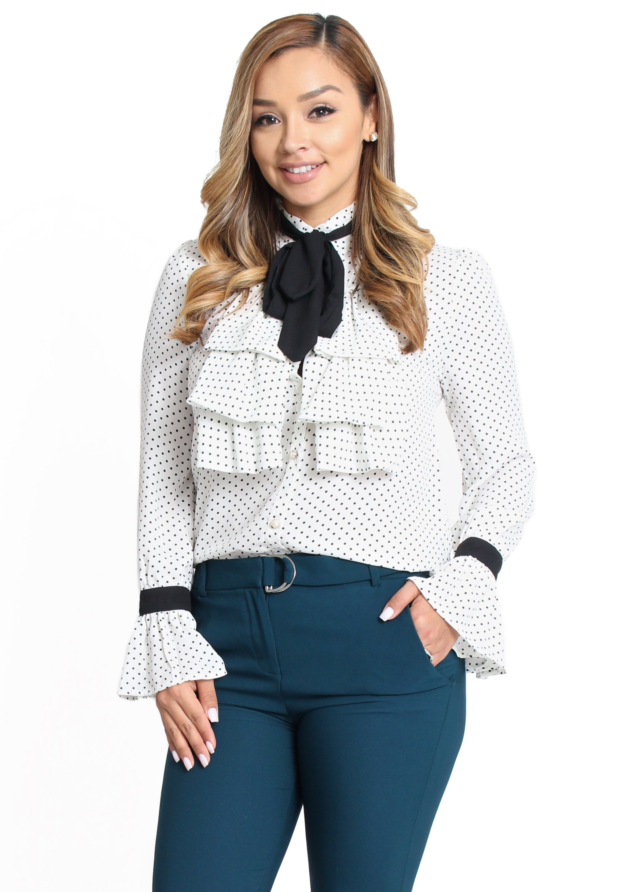 7711451ce7cad4 Amy Ruffle Bow Tie Top - White - Bellarte Clothing