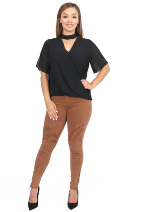 Linda Surplice Neck Band Top