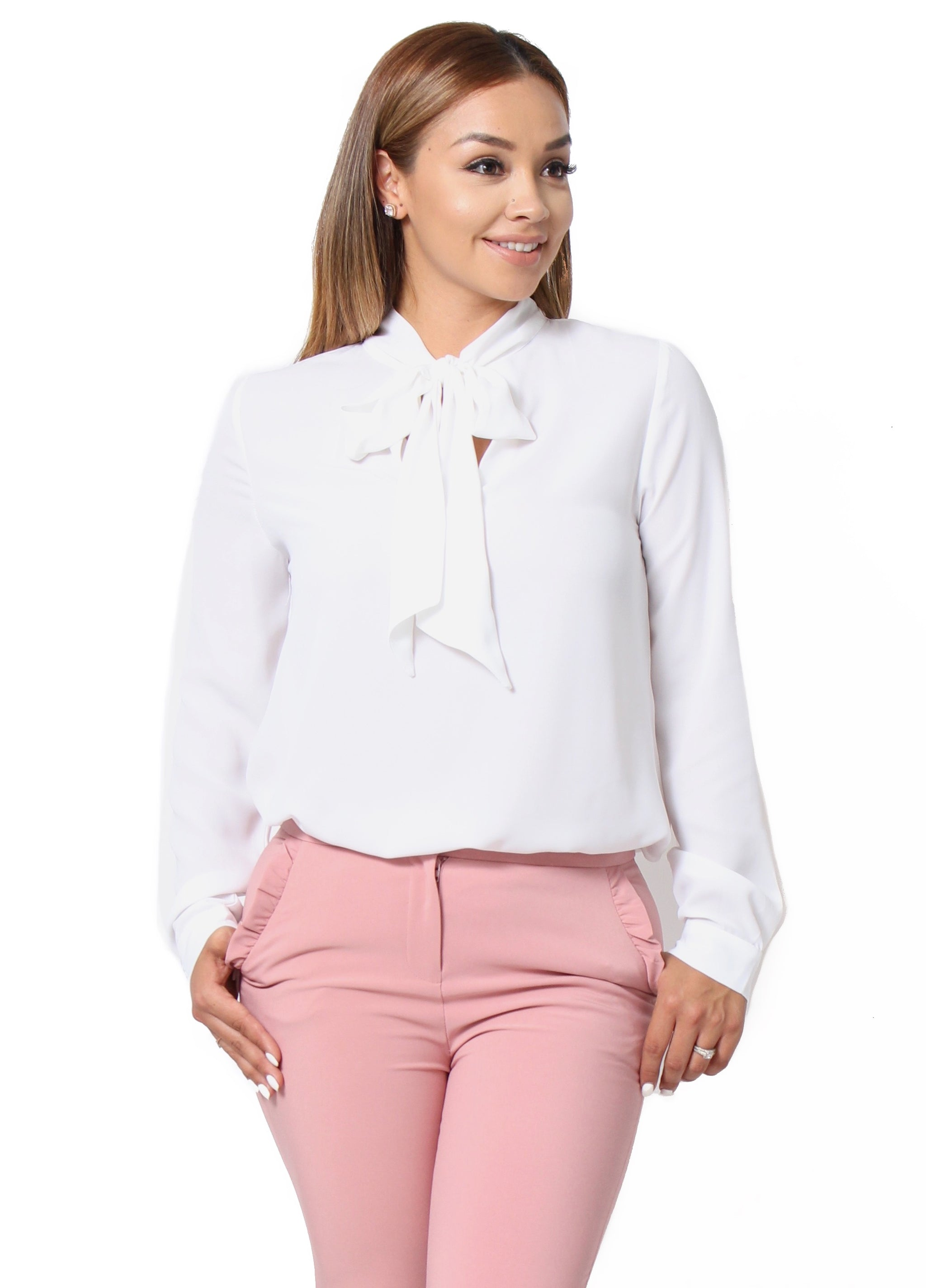 6166ddea71dc77 Catherine Tie Neck Blouse - White - Bellarte Clothing
