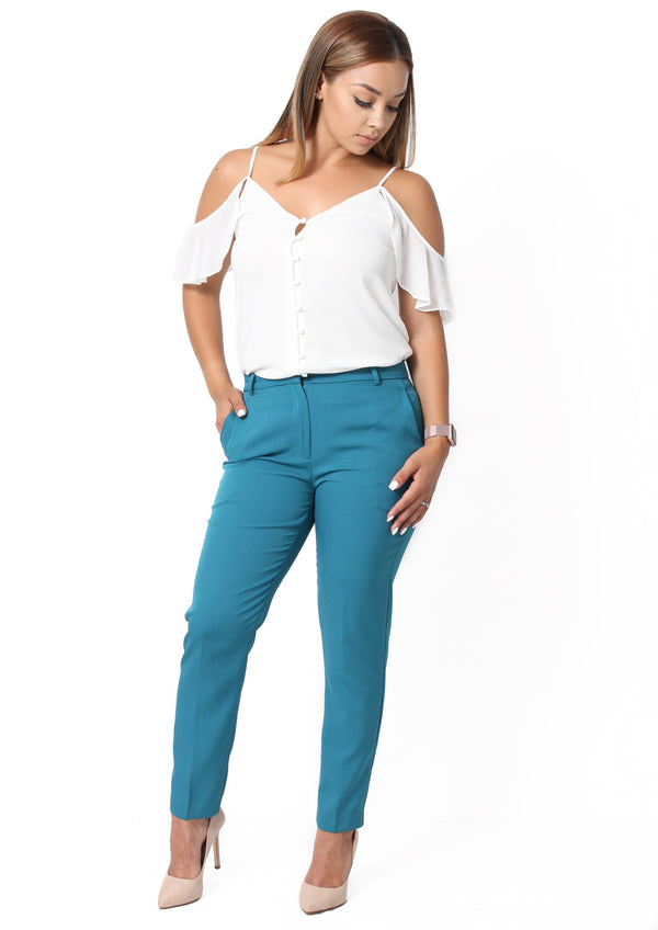 Anne Ankle Pants - Teal