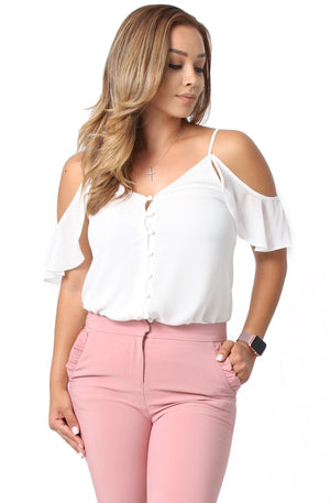 Leyla Cold Shoulder Blouse - White