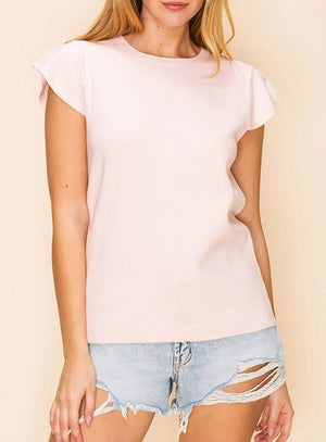 Flutter Sleeve Crewneck Top