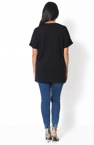 Unavailable V-Neck Top - Black