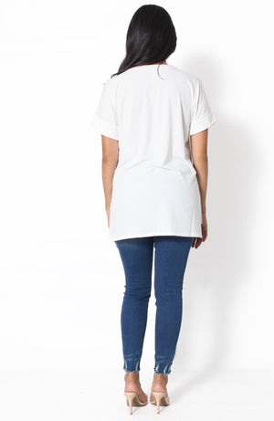 Unavailable V-Neck Top - White