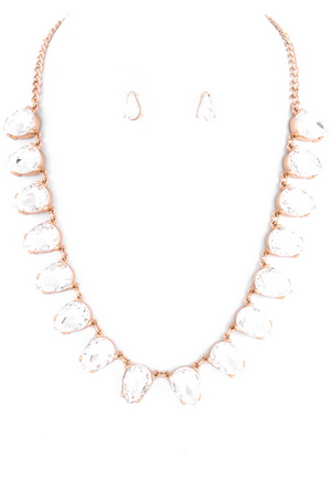 Teardrop Linked Necklace Set