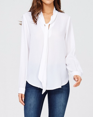 Catherine Tie Neck Blouse - White