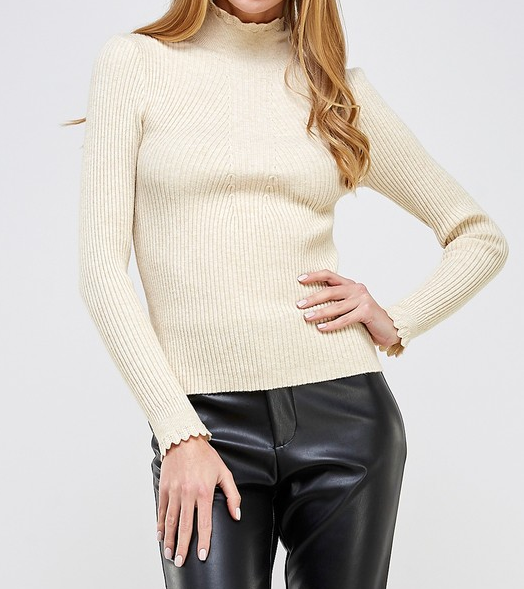 Lux Mock Neck Sweater Top