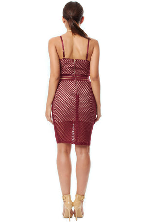 Elise Crochet Dress - Burgundy