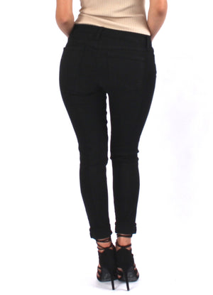 Front Zip Distress Skinny - Black