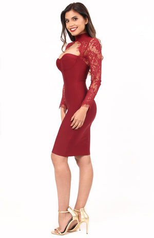 Endless Love Bandage Dress - Burgundy