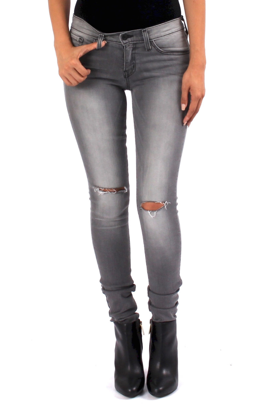 Vintage Distressed Knee Skinny - Grey