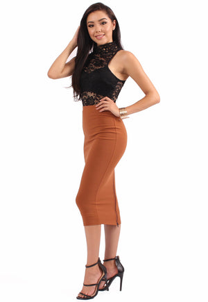 Mariana Zipper Skirt - Rust
